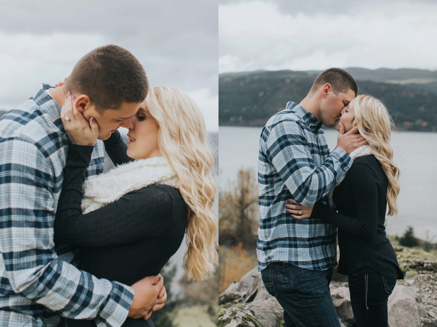 couple kissing pictures, Romantic Columbia Gorge Engagement Pictures in Oregon