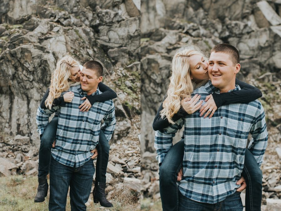 couple hiking and kissing pictures, Romantic Columbia Gorge Engagement Pictures in Oregon