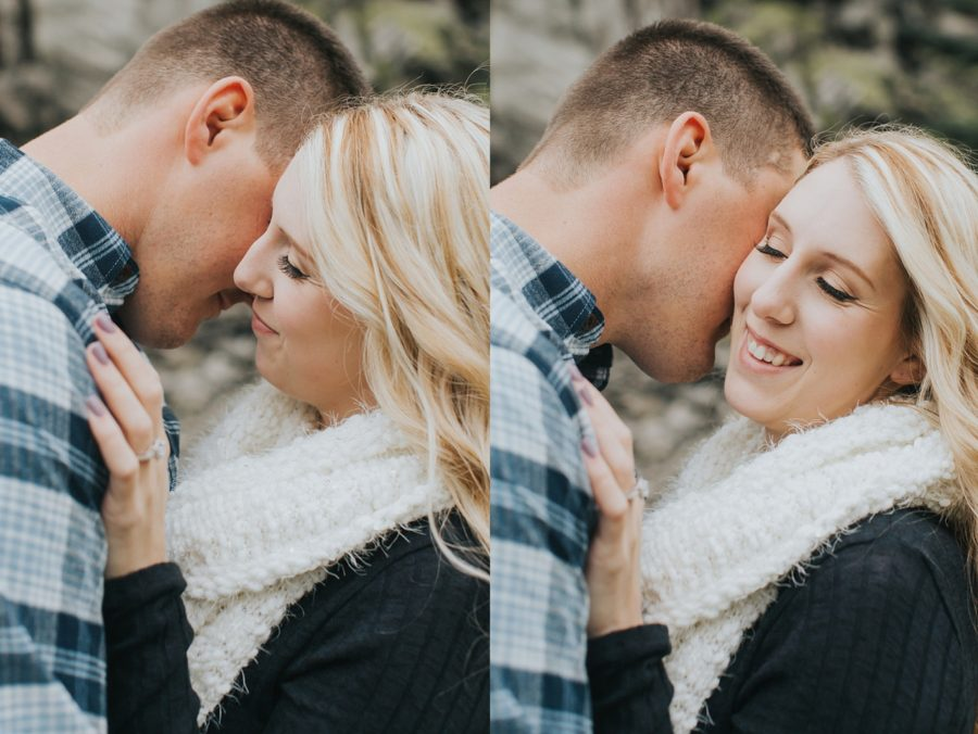 cuddling engagement pictures, Romantic Columbia Gorge Engagement Pictures in Oregon
