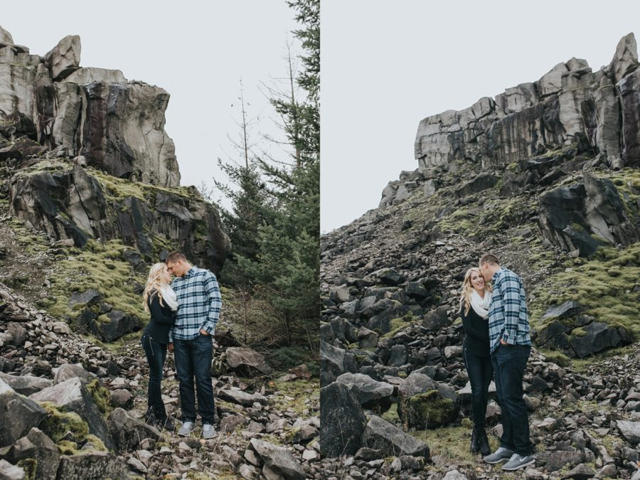 kissing engagement pictures, Romantic Columbia Gorge Engagement Pictures in Oregon