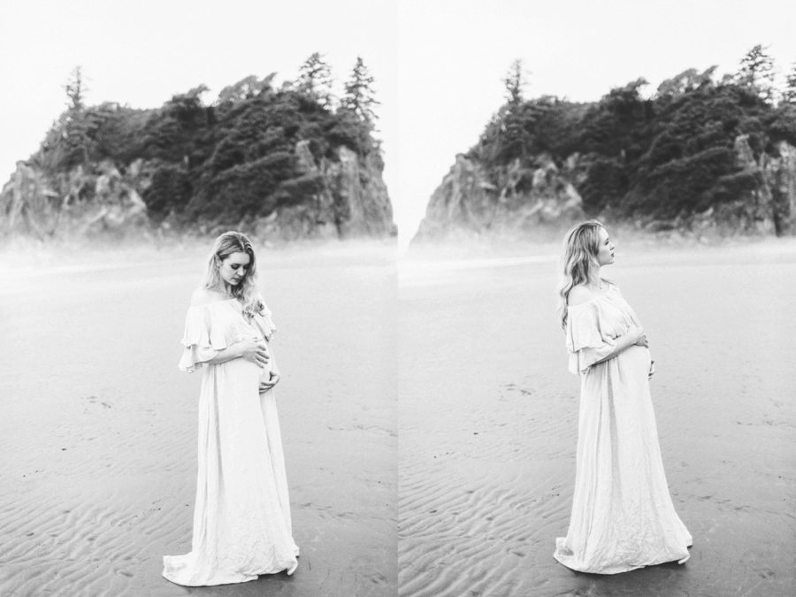 black and white maternity pictures, Ruby Beach Intimate Maternity Pictures in Washington