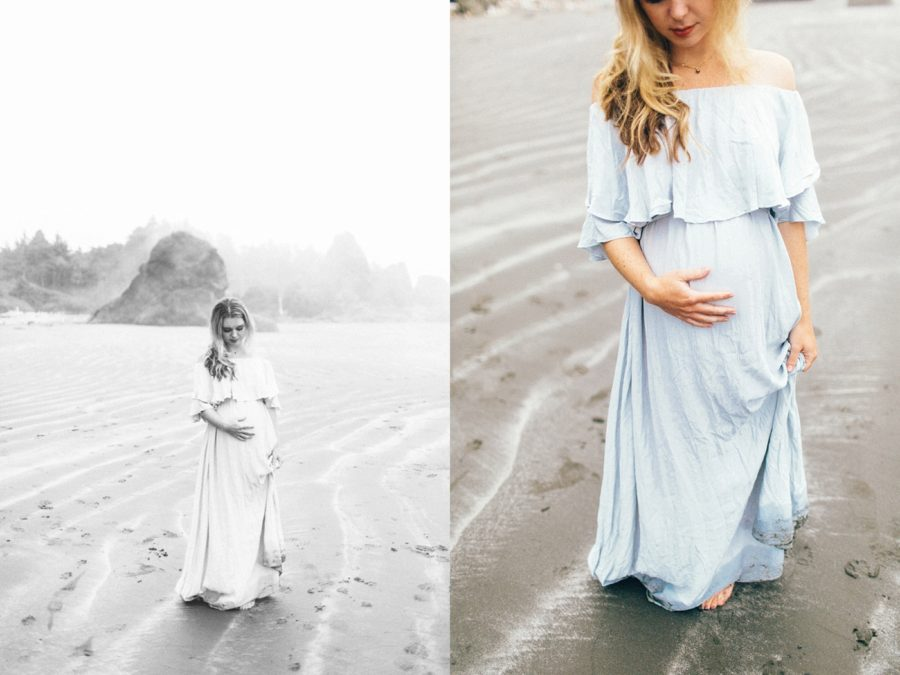 style for maternity pictures, Ruby Beach Intimate Maternity Pictures in Washington