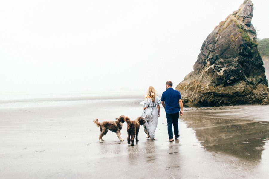 couple maternity pictures with dogs on beach, Ruby Beach Intimate Maternity Pictures in Washington