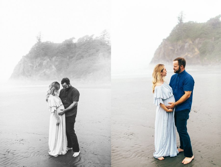 couple poses for maternity pictures, Ruby Beach Intimate Maternity Pictures in Washington