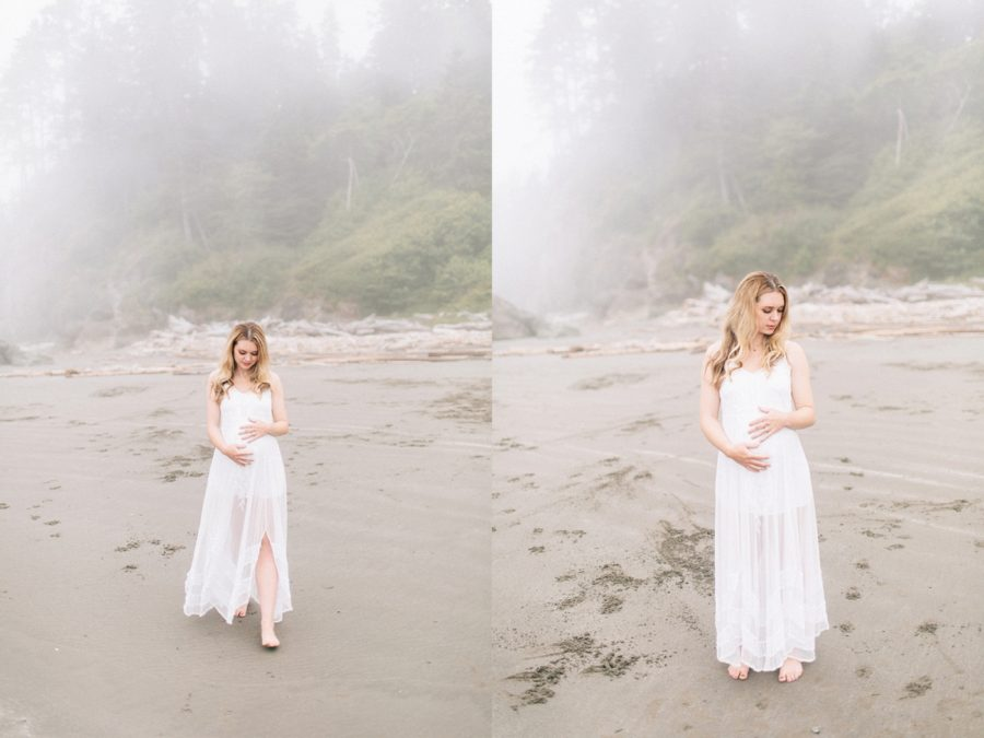 walking maternity poses, Ruby Beach Intimate Maternity Pictures in Washington