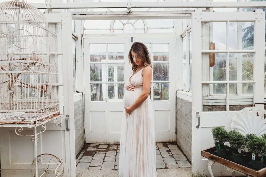 maternity gowns, maternity poses, Organic Greenhouse Maternity Pictures in Washington