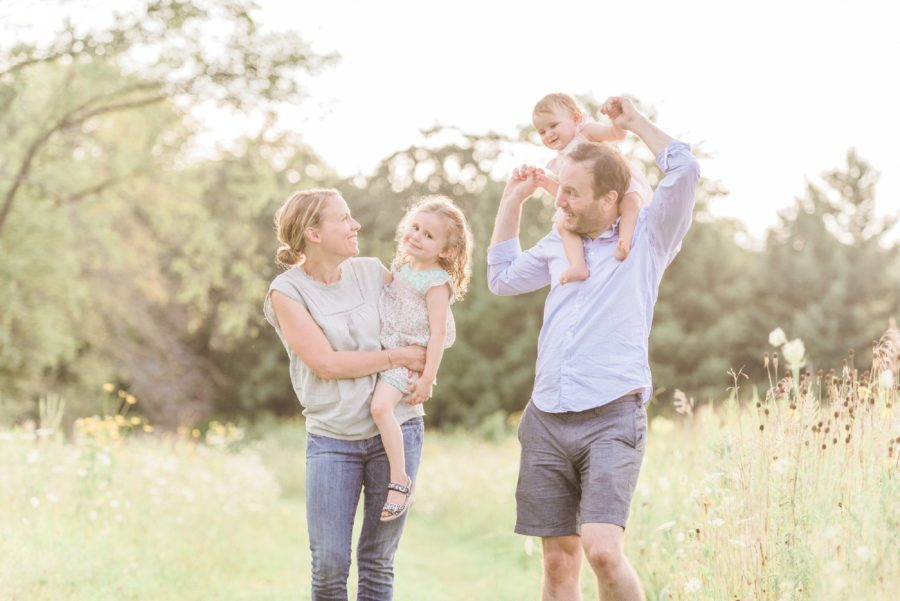 Mom and Dad with girls, Family picture ideas, Light-Drenched Family Portraits in Wisconsin