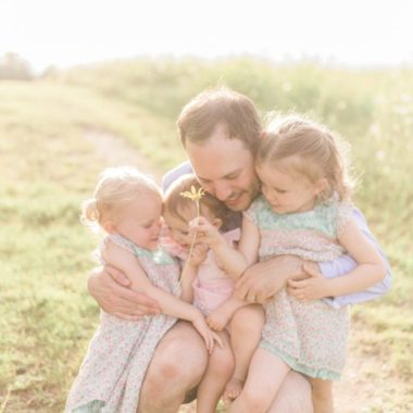 Daddy with daughters, Outdoor family session ideas, Light-Drenched Family Portraits in Wisconsin