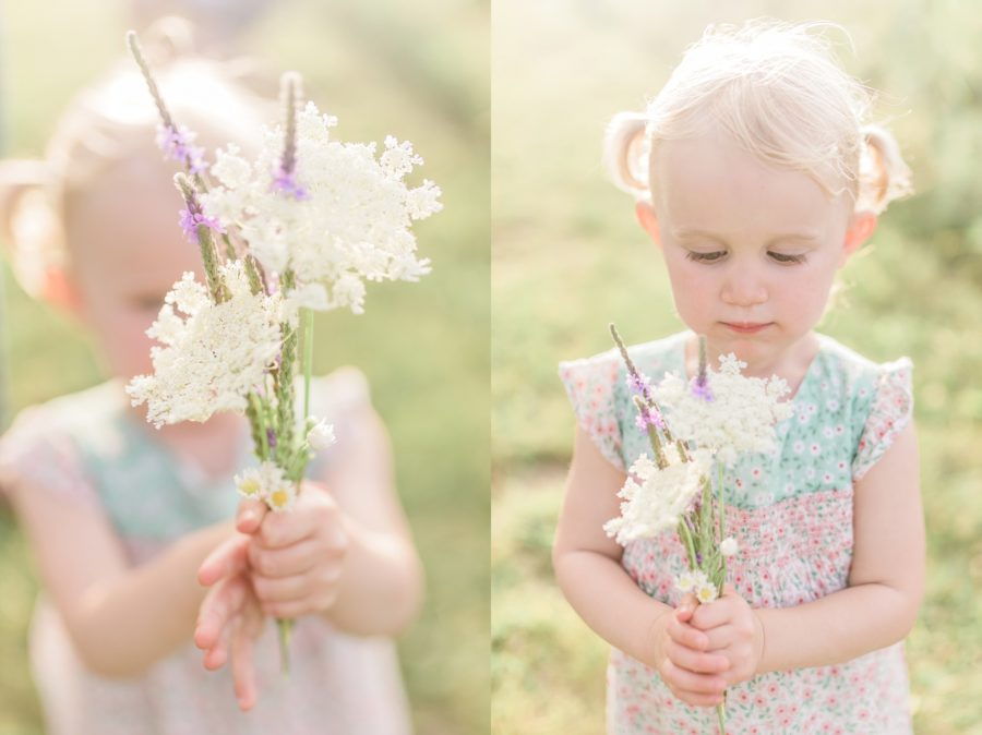 Flowers, girl holding flowers, Light-Drenched Family Portraits in Wisconsin