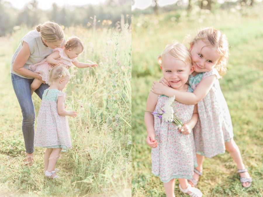 Sisters hugging, Family picking flowers, Light-Drenched Family Portraits in Wisconsin