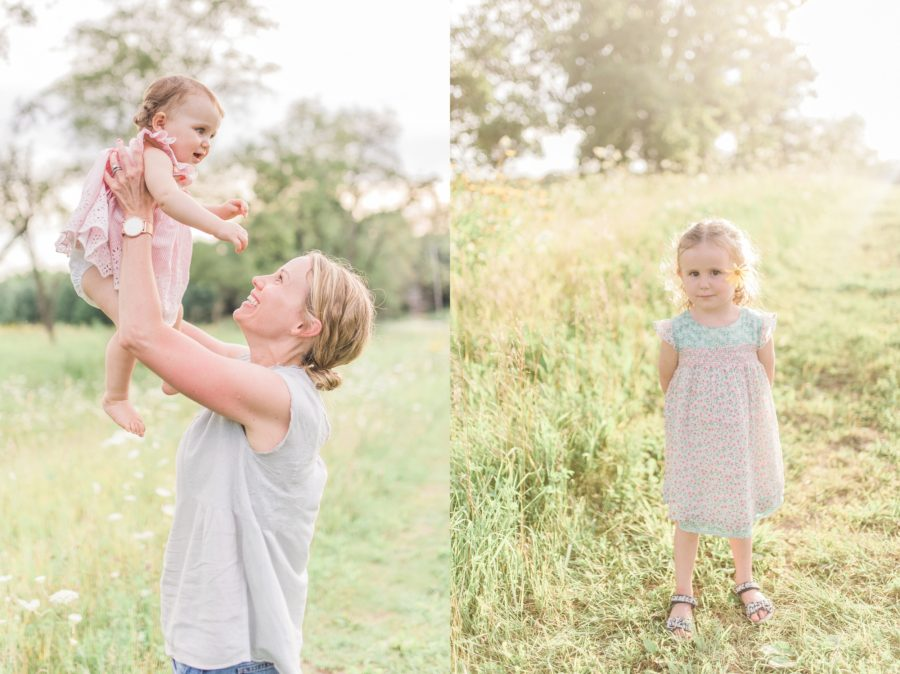 Mom holding up baby, Wildflower field, Light-Drenched Family Portraits in Wisconsin