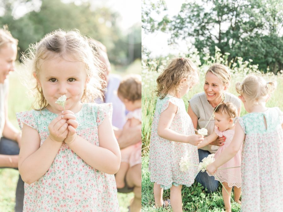 Portraits in field, Mom with daughters, Light-Drenched Family Portraits in Wisconsin