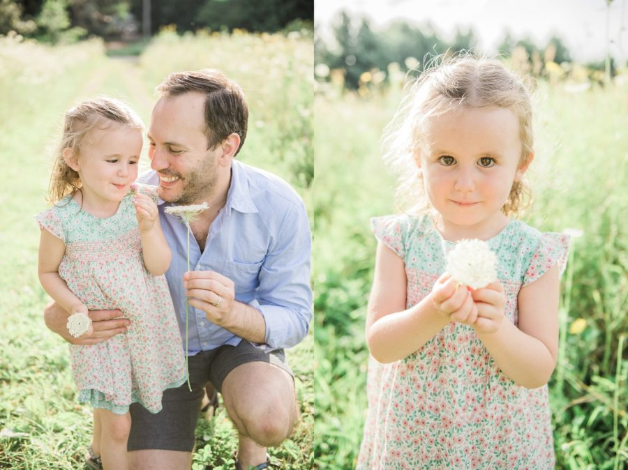 Daddy and daughter, Girl with flower, Family session outside, Light-Drenched Family Portraits in Wisconsin