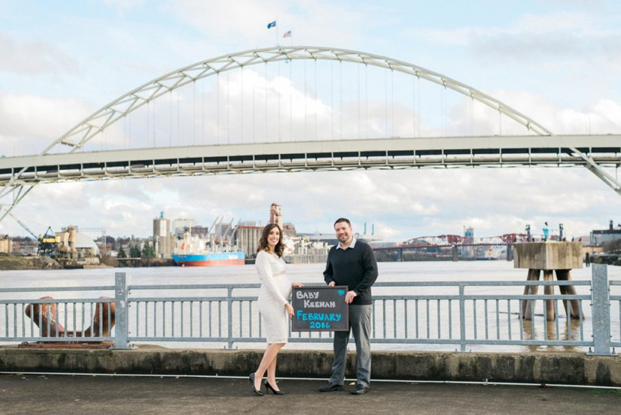 Baby announcement, maternity pose in front of bridge, Classic Portland Maternity Photos
