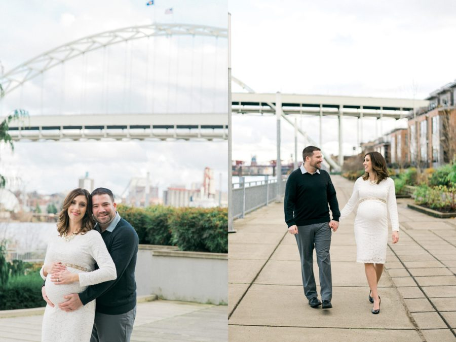 Man and woman smiling, couple walking, Classic Portland Maternity Photos