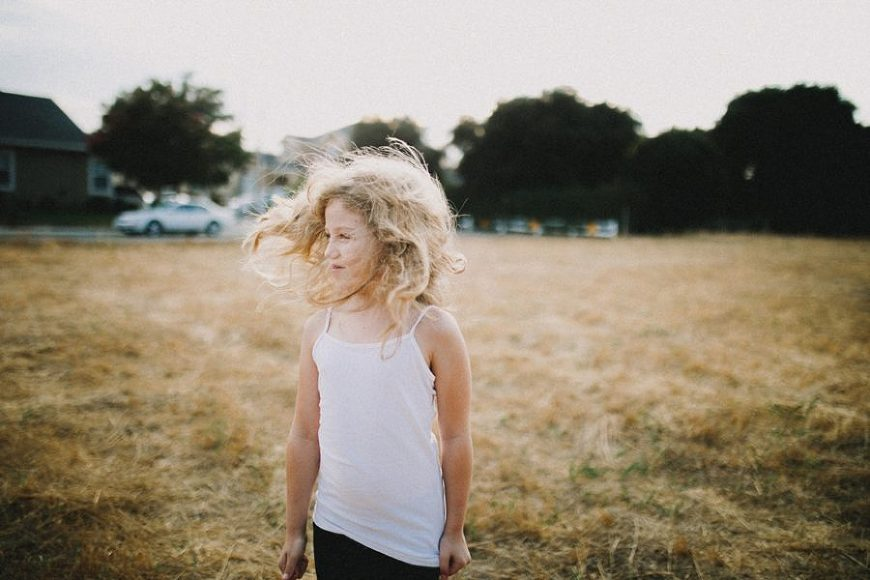 wind blowing girls hair, Wild and Free Childhood Portraits