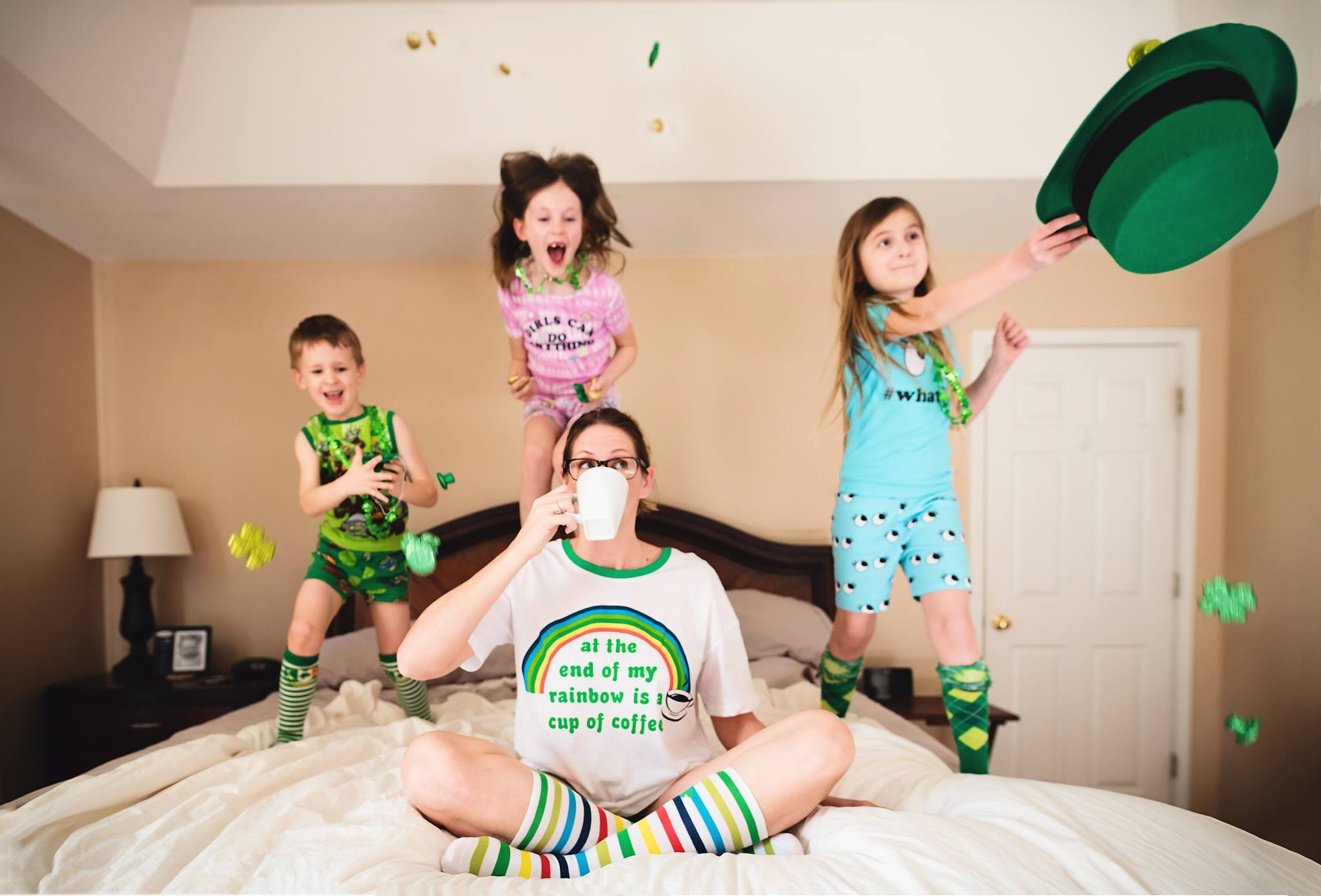 kids jumping on bed with mom, Daily Fan Favorite