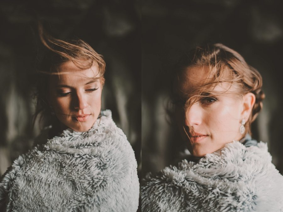portraits of woman with fur shawl, woman with hair blowing, Styled Elopement Pictures in Iceland