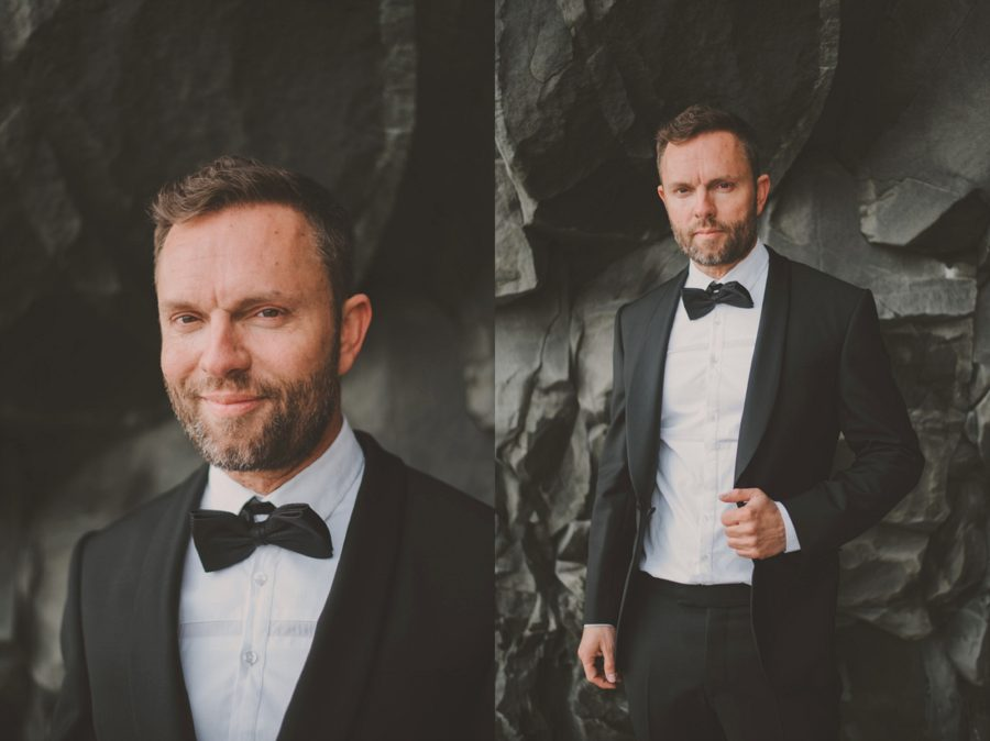 man with tux, portrait of man, black rocks, Styled Elopement Pictures in Iceland
