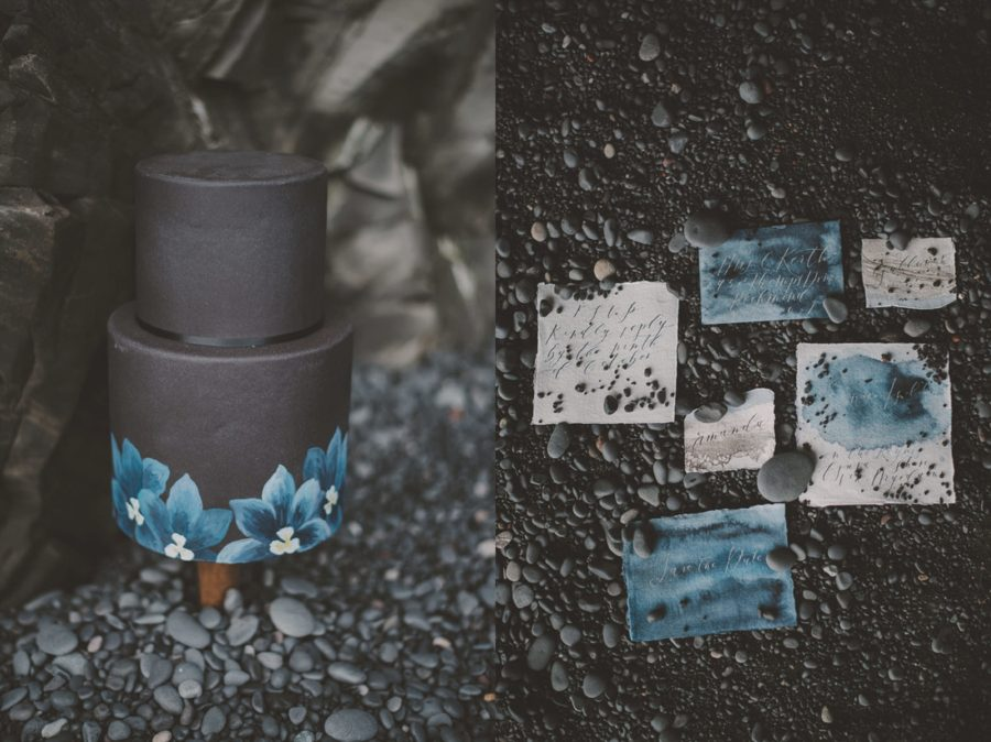 black cake, watercolor wedding details, Styled Elopement Pictures in Iceland