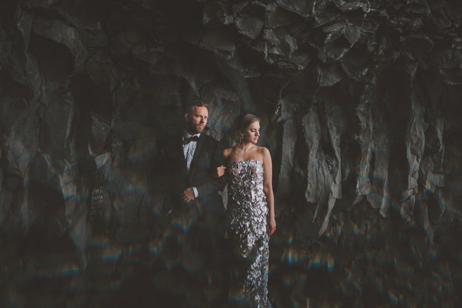 wedding photos in cave, portrait photos with prism, Styled Elopement Pictures in Iceland