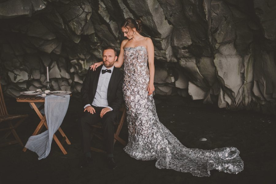 couple at table on beach, formal wedding portraits, Styled Elopement Pictures in Iceland