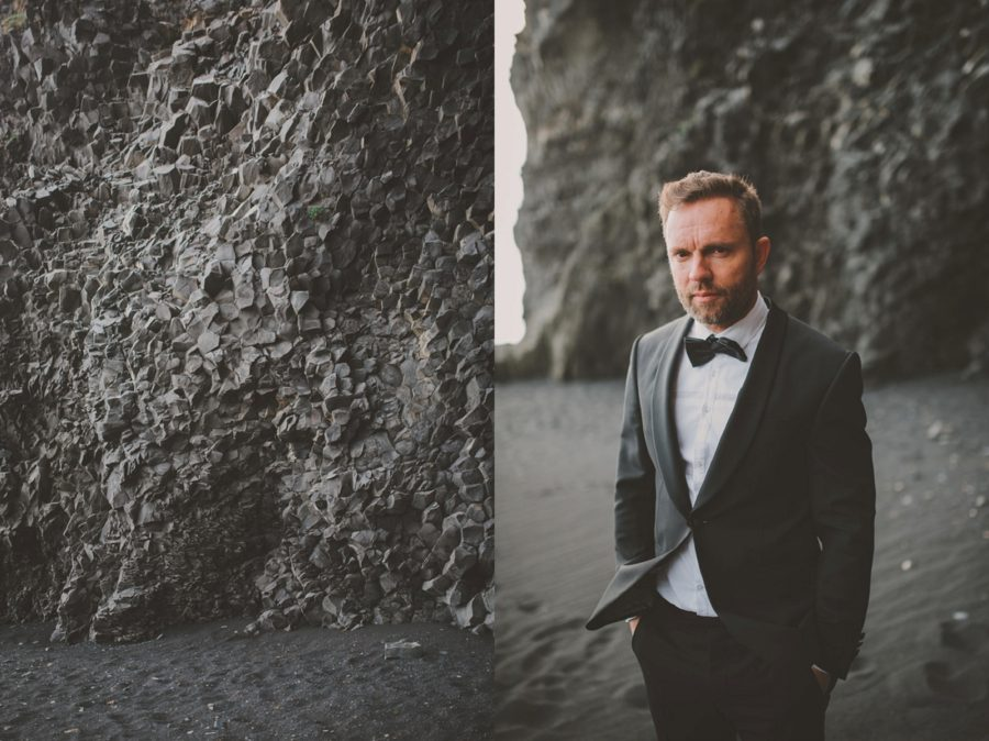 unique black rocks, groom posing, Styled Elopement Pictures in Iceland