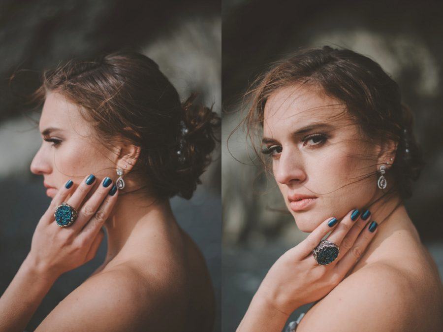 woman touching face, turquoise nails, turquoise stone ring, Styled Elopement Pictures in Iceland