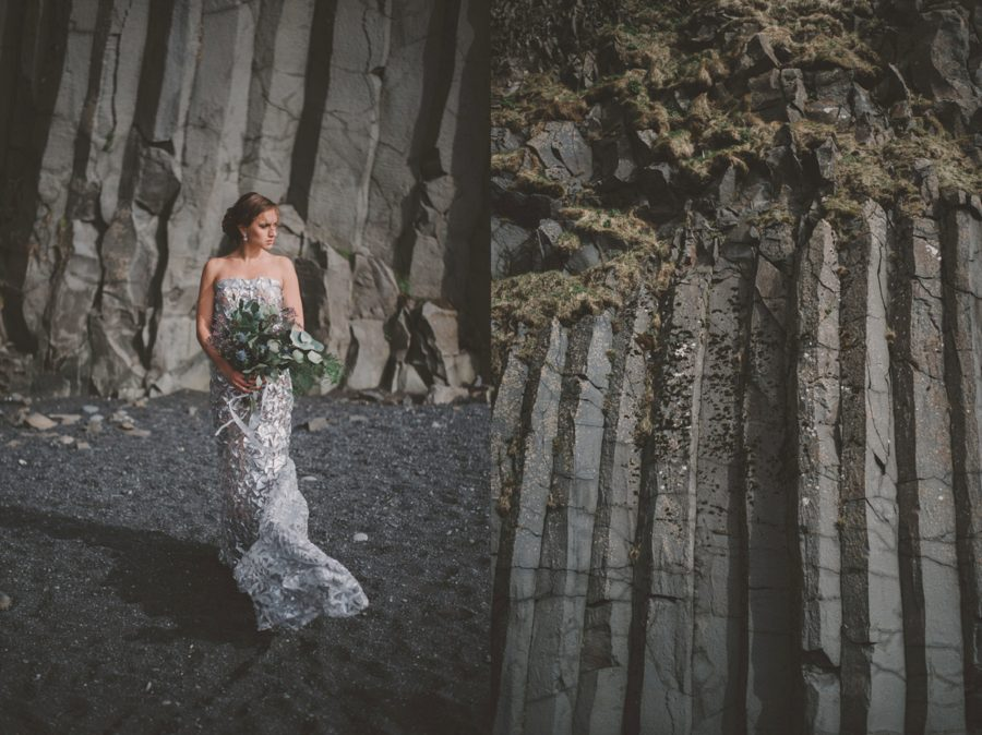 portraits in front of rock wall, unique rock formations, Styled Elopement Pictures in Iceland
