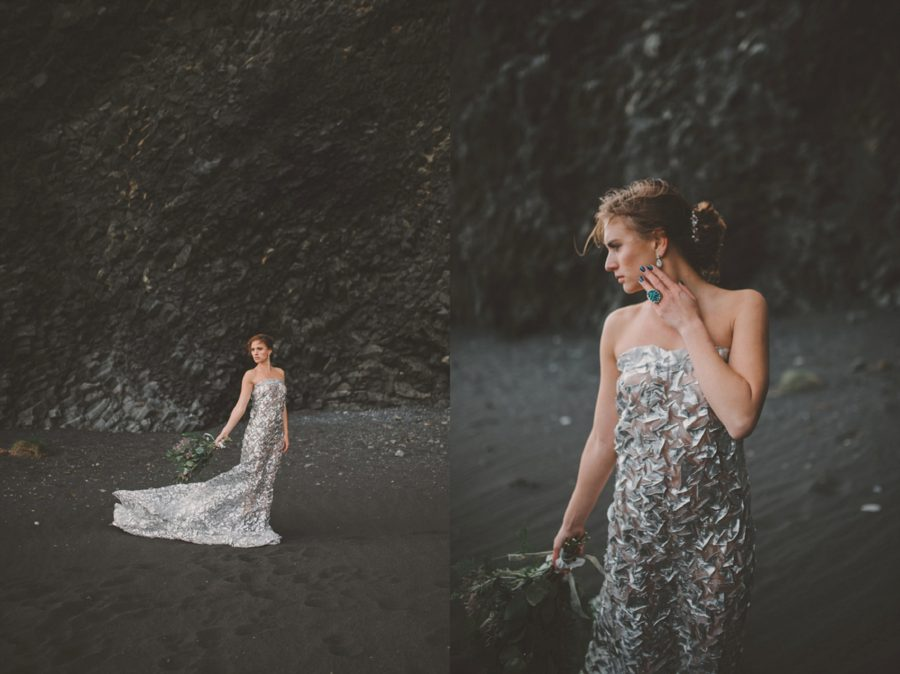 just the bride, posing ideas for a woman, beach portraits, Styled Elopement Pictures in Iceland