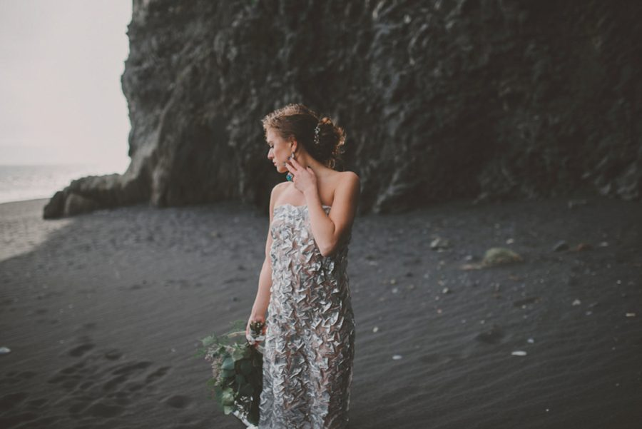 woman in silver dress with flowers, Styled Elopement Pictures in Iceland