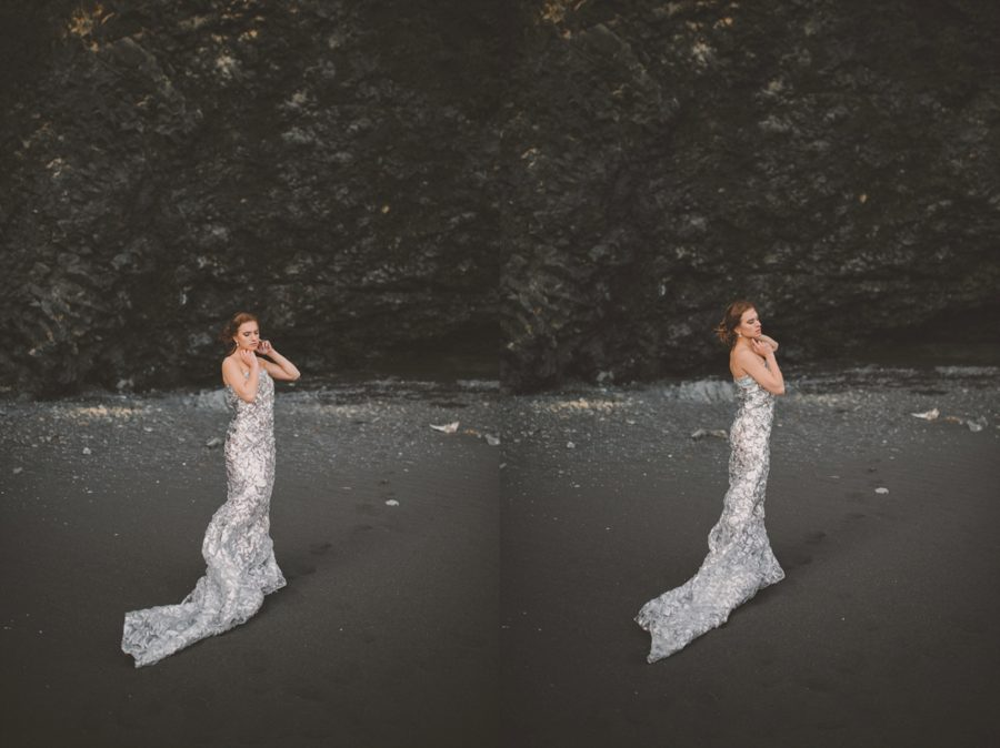 woman posing in silver dress, Styled Elopement Pictures in Iceland