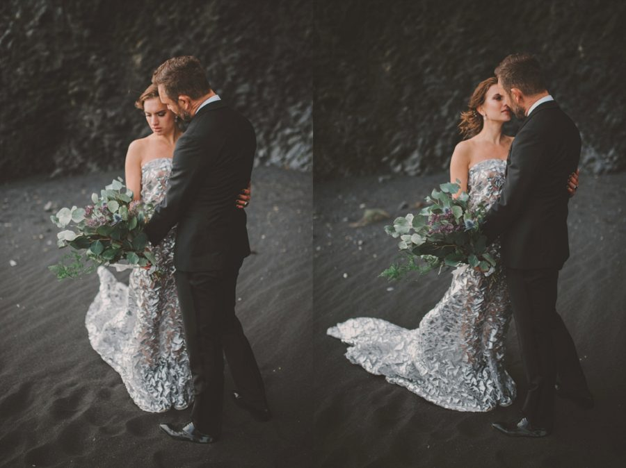 bride and groom pictures, posing with wedding bouquet, Styled Elopement Pictures in Iceland