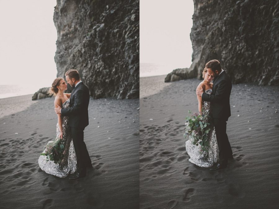 couple embracing, bride and groom posing, formal portraits on beach, Styled Elopement Pictures in Iceland
