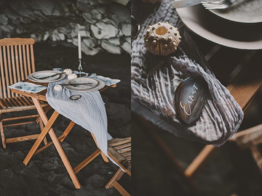 styled table on beach, wedding table details, Styled Elopement Pictures in Iceland