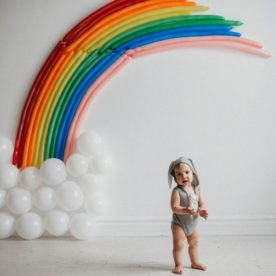 baby with rainbow background, balloon background, Amanda Dayle Photography Daily Fan Favorite