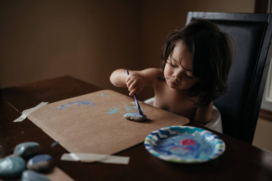 child painting rock, painting indoors, Amanda Dayle Photography Daily Fan Favorite