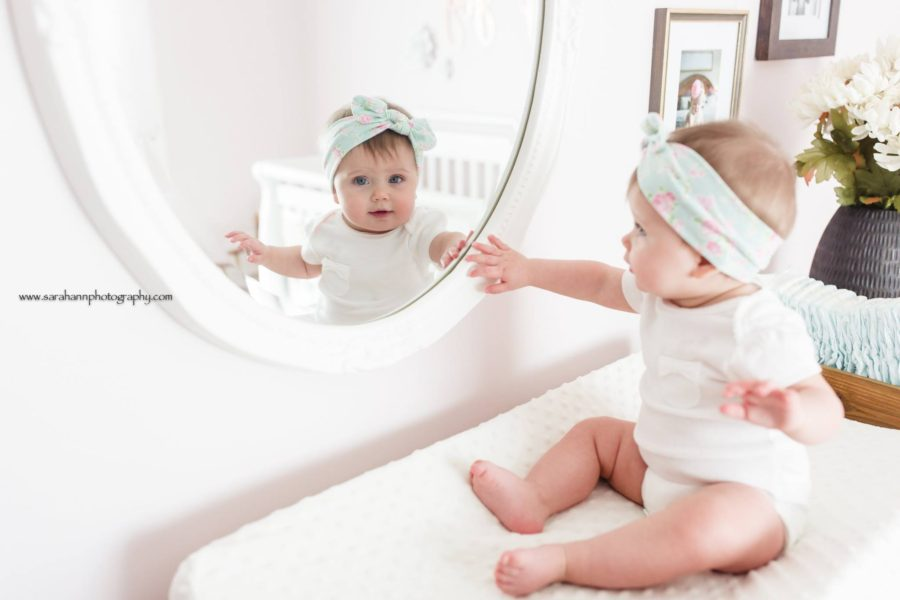 baby looking in mirror reflection, baby on changing table, Daily Fan Favorite on Beyond the Wanderlust