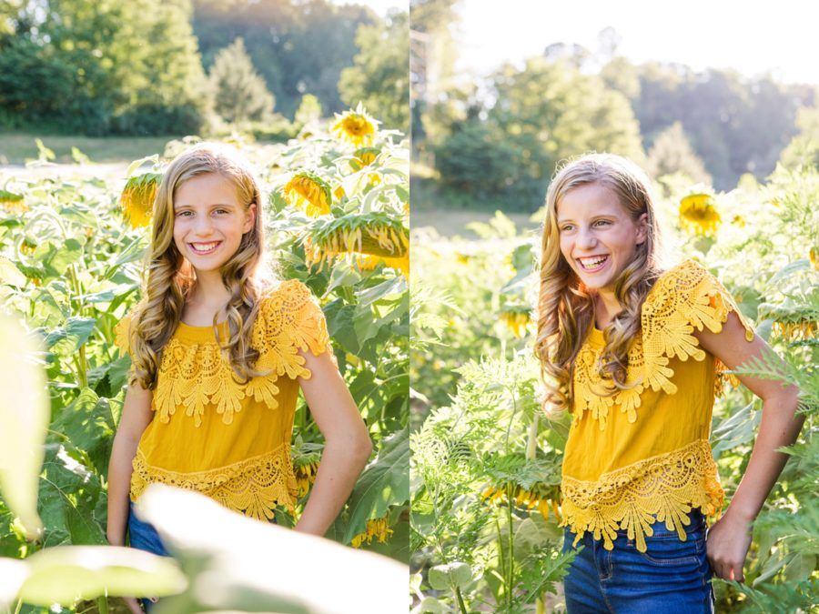 girl standing in sunflower field, Sweet 13 Photo Session in North Carolina