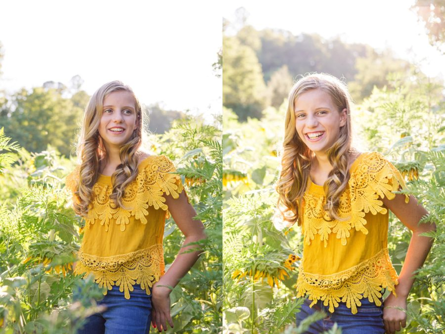 Portraits of girl on sunny day, Sweet 13 Photo Session in North Carolina