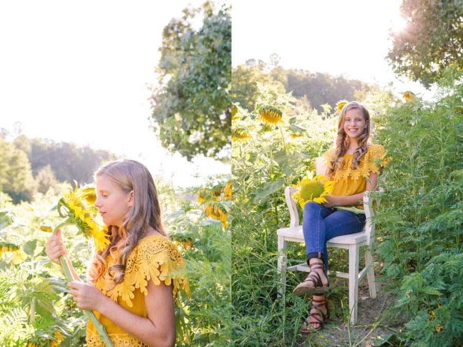 Girl with big sunflower, Girl posing with sunflower, Sweet 13 Photo Session in North Carolina