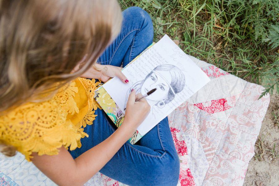 Girl drawing outside, artist sketching in field, Sweet 13 Photo Session in North Carolina