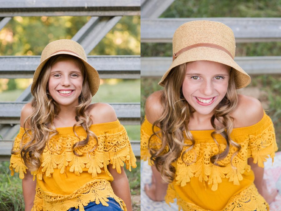 Girl with long hair smiling, Girl with hat, Sweet 13 Photo Session in North Carolina