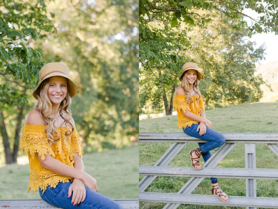 Picture of girl sitting on fence, Sweet 13 Photo Session in North Carolina