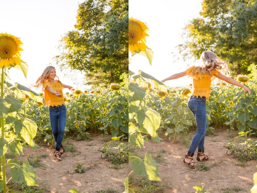 Teen spinning with flowers, Sweet 13 Photo Session in North Carolina