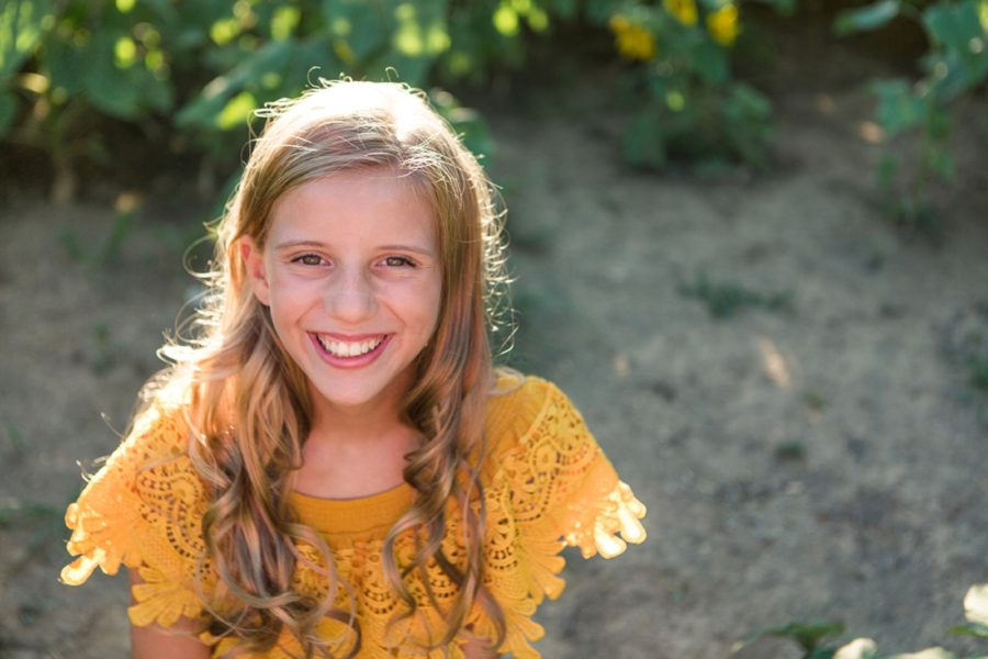 Picture of girl smiling, yellow lace shirt, Sweet 13 Photo Session in North Carolina