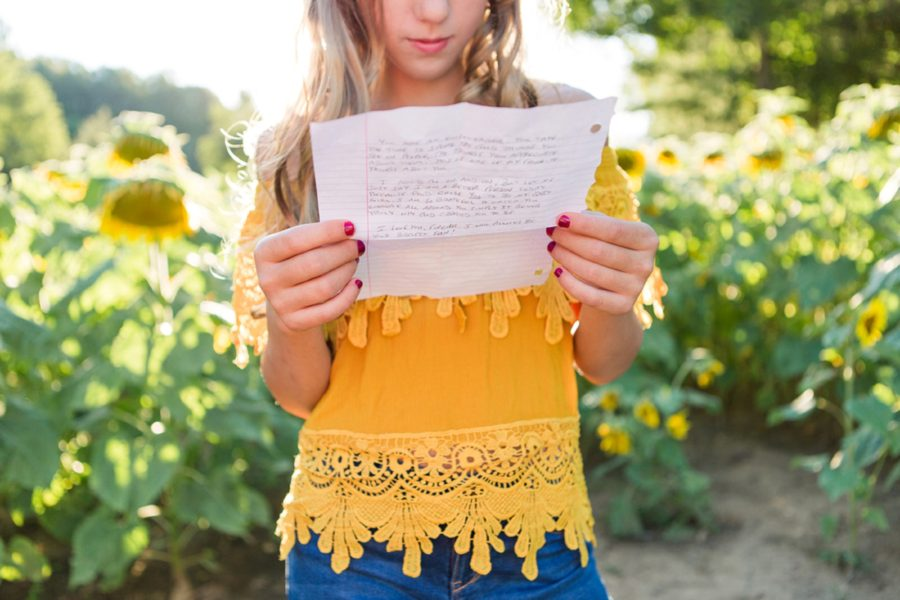 Teen reading letter from her father, Sweet 13 Photo Session in North Carolina