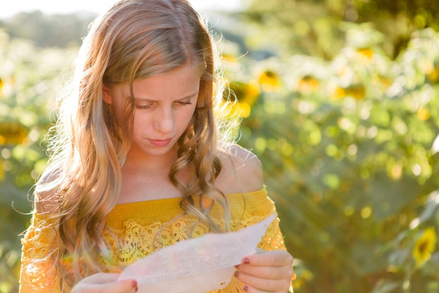 girl reading letter from dad, Sweet 13 Photo Session in North Carolina