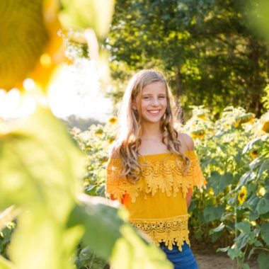 Girl with sunflowers, Portraits in sunflower field, Sweet 13 Photo Session in North Carolina