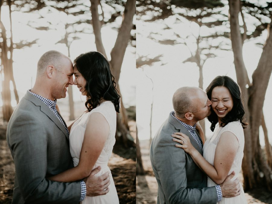 picture of couple with foreheads together, San Francisco Beach Engagement Photos